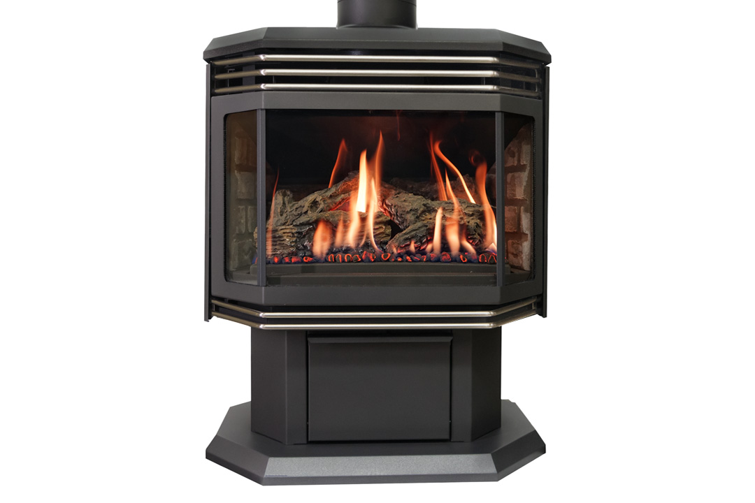 45 gas freestanfing stove nickel grills grey bricks