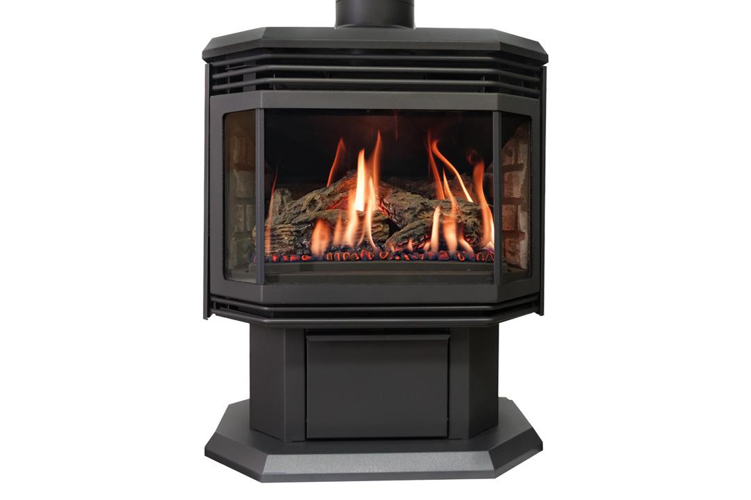 45 gas freestanfing stove black grills grey bricks