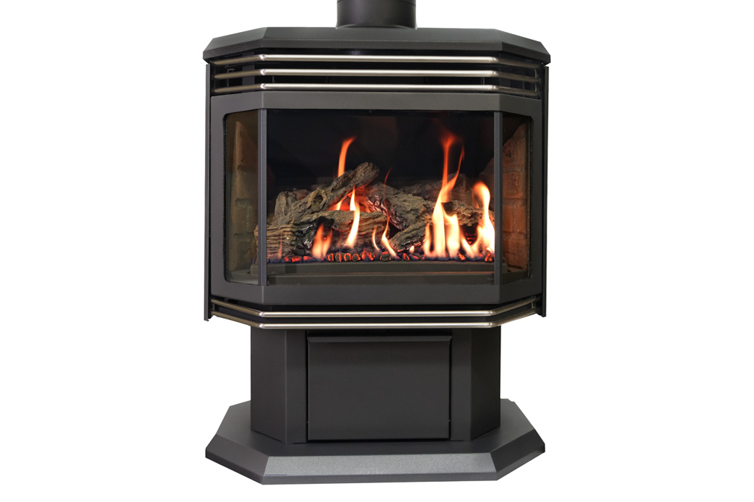 45 gas freestanfing stove nickel grills red bricks