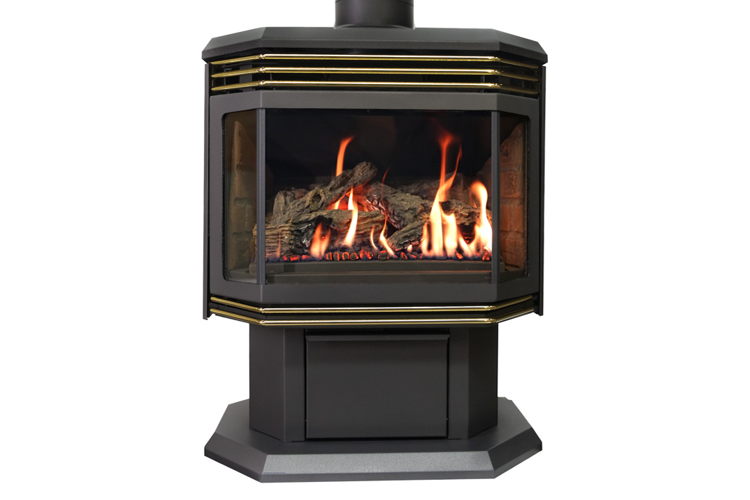 45 gas freestanfing stove gold grills red bricks