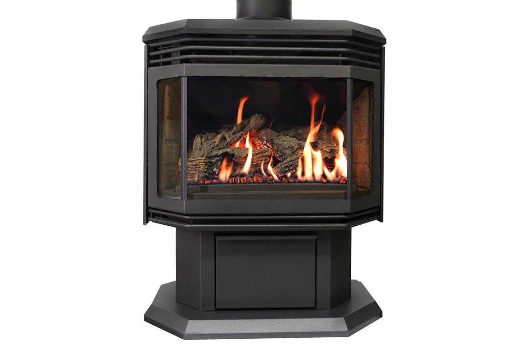 45 gas freestanfing stove black grills red bricks